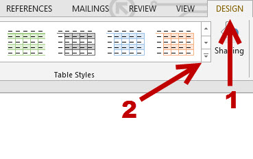Word modify and create custom table style for Table design on word